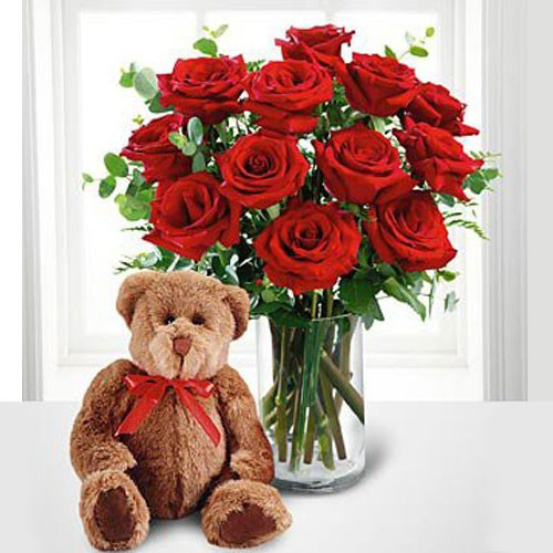 I Love You Teddy Bear And Flowers