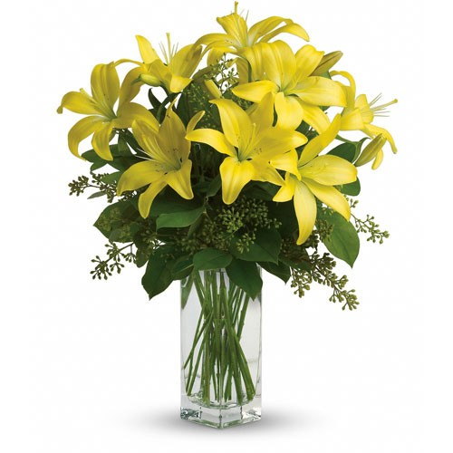 Send Lily Sunshine Our 9 Blooms Of Lilies In Vase To Lebanon