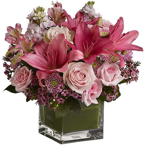 Send pastel cube a mix of fresh pink and purple flowers to jordan a mix of fresh pink and purple flowers delivered in a clear glass cube vase lined with a green leaf show what an ideal romantic you are mightylinksfo