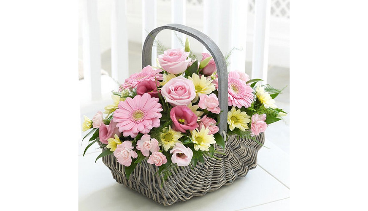 Free delivery of flowers to kuwait with cakes balloons and birthday baby girl basket izmirmasajfo